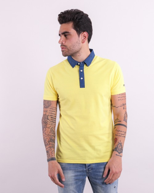 Polo manica corta con collo denim